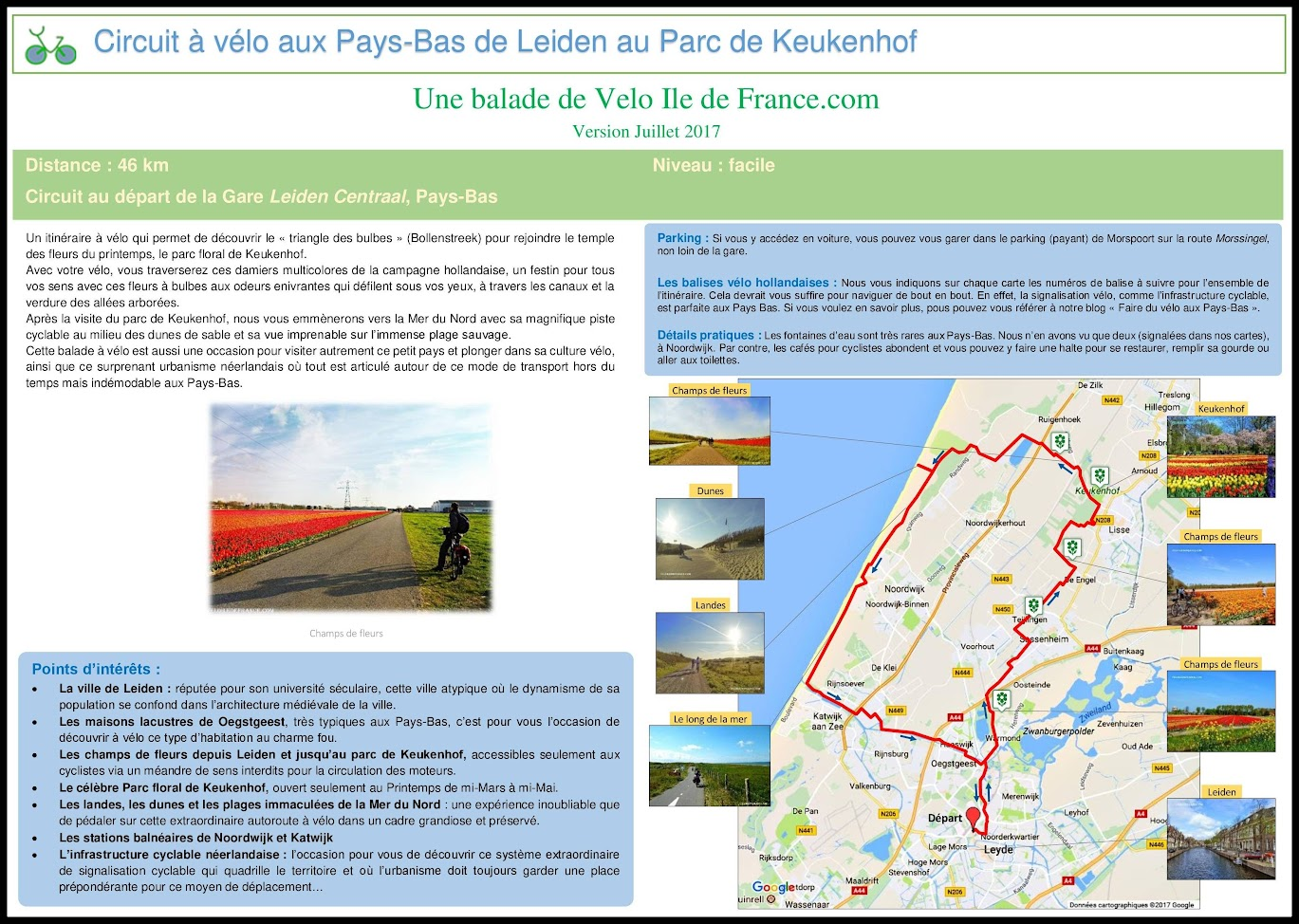 Couverture - Circuit à vélo aux Pays-Bas de Leiden au Parc de Keukenhof par veloiledefrance.com