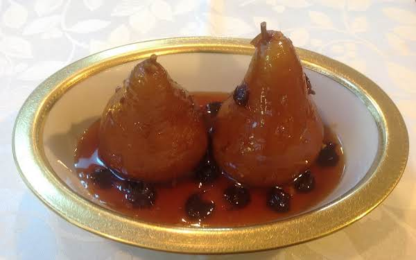 Poached Pears In Brandy Ginger Syrup. Replaced Dried Cranberries With Dried Tart Cherries.