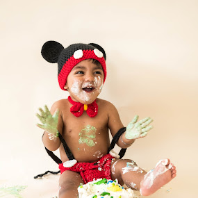 Cake Smash by Mike Lesnick - Babies & Children Toddlers ( birthday, mickey mouse, cake smash, toddler, portrait,  )