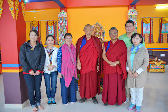 Photo: May 13, 2014, kindly holding Jetsun Ma's hand, His Holiness Menri Trizin Rinpoche posed with Yuan Yuan members and His Eminence Ponolob Rinpoche at the precious Grand Opening day of the newly completed Sowa Rigpa Medical Institute.(From left: Angie He, Dr. Miona He, Jetsun Ma, H.H. Menri Trizin, H.E. Menri Lopon, Michael Kuo, and Shirley Fu)
