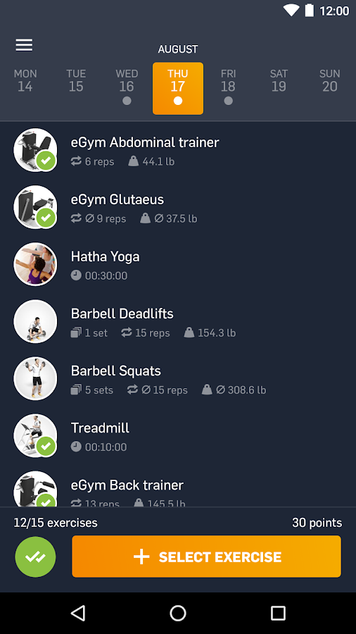 eGym Fitness app- screenshot