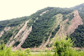 Photo: Day 82 - Rock Strata on Oppositve Bank of Danube, in Romania