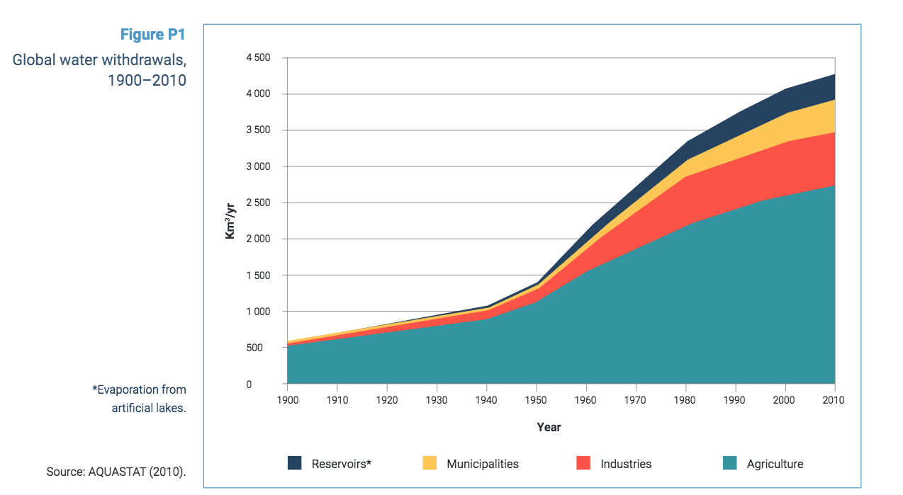 Global water withdrawals over the past 100 years - the UN Water Development Report 2021