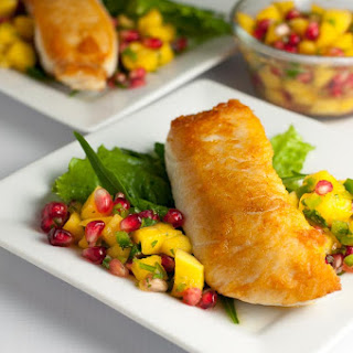 Crusted Halibut with Mango Pomegranate Salsa.