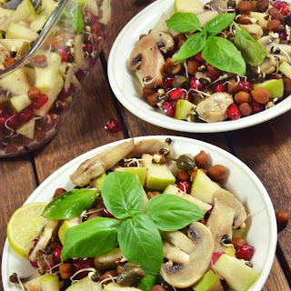 Sprouted Lentils and Mushroom Salad with a Caper and Basil Dressing