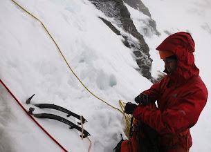 "Photo: Awaiting my turn to follow Andy up ""Ice Crew"", III, on Beinn Udlaidh."