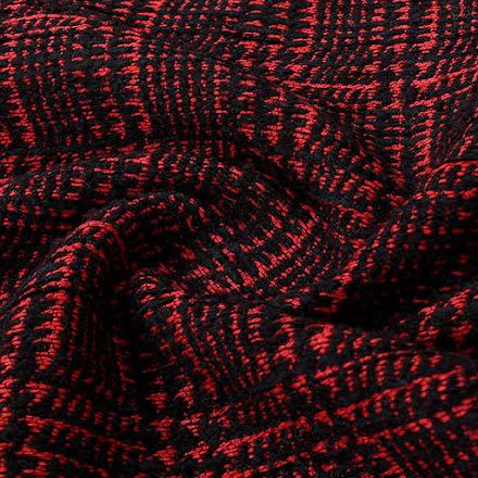 Strukturväv - svart/röd