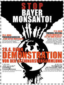 Plakat: Stop Bayer Monsanto!