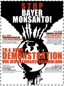 Plakat: Stop Bayer Monsanto!