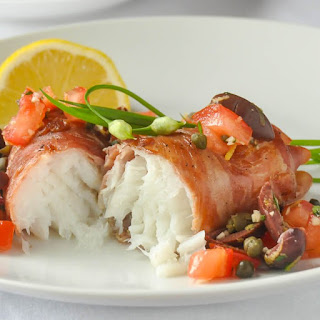 Prosciutto Wrapped Cod with Mediterranean Salsa.