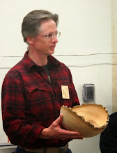 "Photo: Duane Schmidt brought in an ""unfinished"" ash bowl that he made in a David Ellsworth class.  He likes the grain texture that came out as it dried.   He plans to leave it that way."
