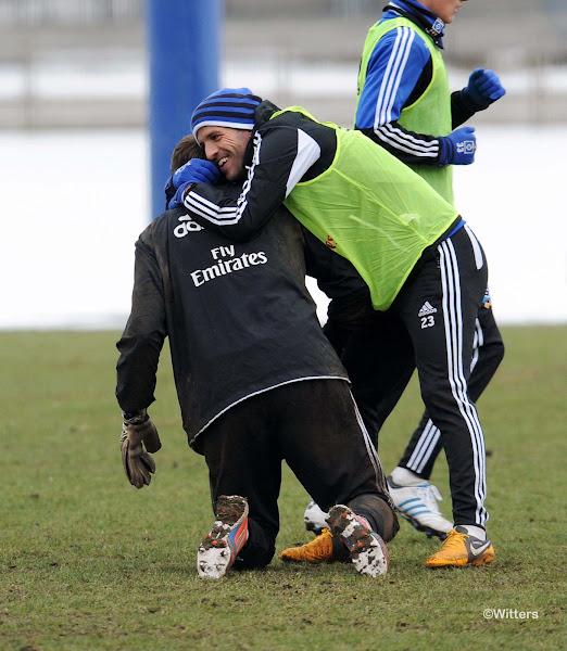 Photo: v.l. Torwart Jaroslav Drobny, Rafael van der VaartFussball, Hamburger SV, Training