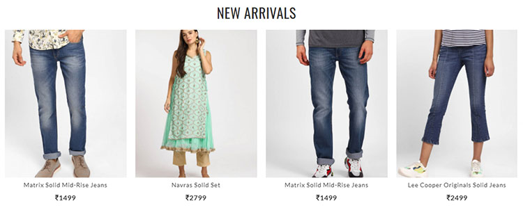 a brand showing new products under the 'New Arrivals' personalized widget on its home page.
