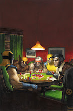 Photo: WOLVERINES PLAYING POKER (AMAZING SPIDER-MAN #590 WOLVERINE ART APPRECIATION VARIANT). 2009. Gouache and acrylic on bristol board, 11 × 17″.