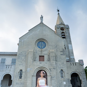 Church and Bride by Billy C S Wong - Wedding Bride & Groom ( girl, church, white bride, white, bride, groom,  )