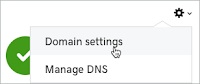 Domain Settings is selected from the Settings icon drop-down list.