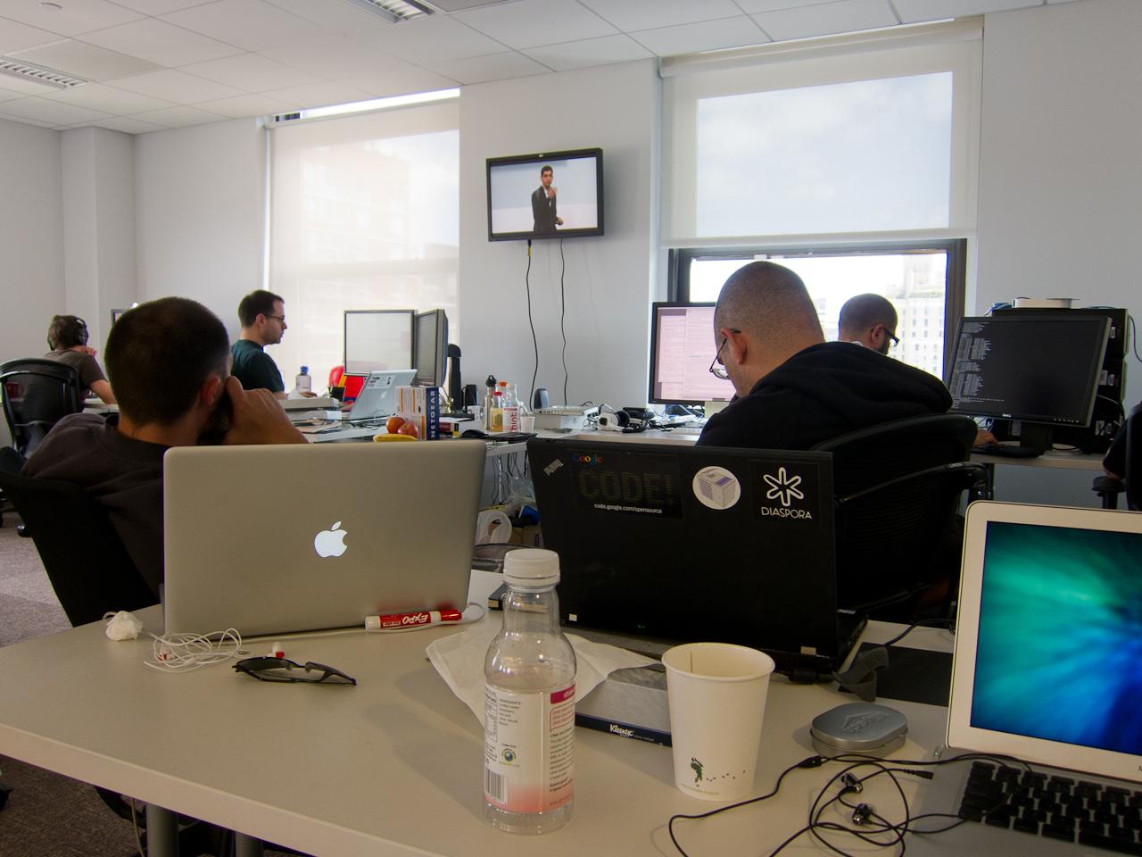 Photo: Taking a break to watch a Google IO Keynote.