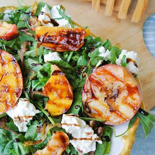 Grilled Peach + Burrata Salad With Balsamic Glaze.
