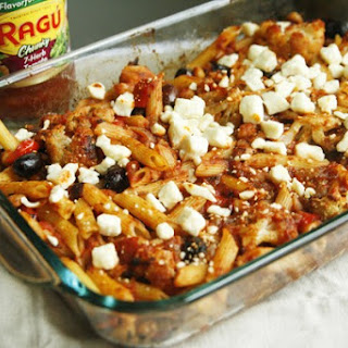 Mediterranean Roasted Cauliflower and Garbanzo Pasta Bake.