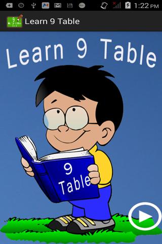 Learn 9 Multiplication Table