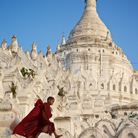 young monk by Mike Mulligan - People Street & Candids ( temple, buddhism, myanmar, at play, daylight, Buddhism,  )