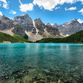 View to Valley of Ten Peaks by John Williams - Landscapes Mountains & Hills ( mountains, canada, canadian rockies, color, national parks, glacial water, canoe, glacial lake, banff )