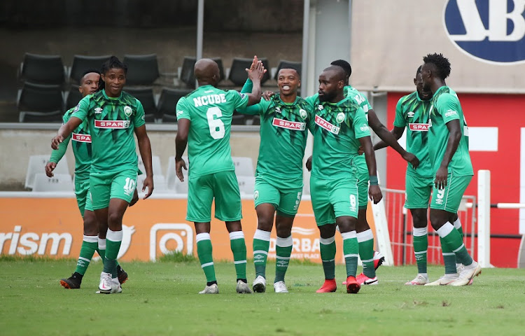Augustine Mulenga of AmaZulu celebrates a goal with teammates during the DStv Premiership match against Bloemfontein Celtic at Jonsson Kings Park Stadium on February 2 2021 in Durban.