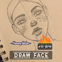 How to draw faces step by step icon