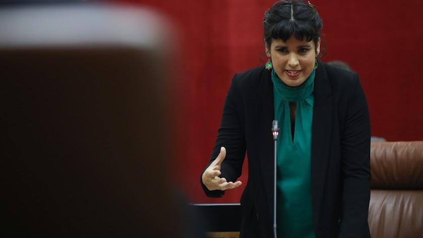 Teresa Rodríguez, durante una intervención en el Parlamento andaluz.