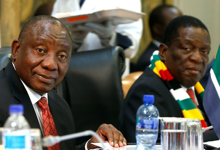 No deal: President Cyril Ramaphosa and his Zimbabwean counterpart, Emmerson Mnangagwa, at the binational commission meeting in Harare on Tuesday. Picture: REUTERS/Philimon Bulawayo