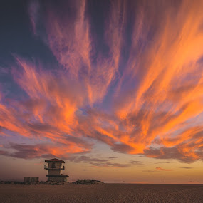 Fire in the sky by Earl Heister - Landscapes Sunsets & Sunrises ( sunset, beach, lifeguard shack, fire in the sky,  )