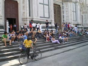 Photo: Student Tourists  on Cathedral steps in Florence