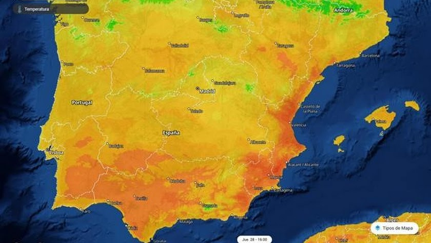 Mapa de temperaturas en España según la red meteorológica Meteored