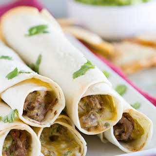 Mexican Shredded Beef Baked Taquitos.