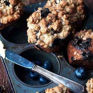 Double-Layered Streusel Blueberry and Dark Chocolate Muffins.