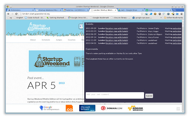 Startup Weekend page tagger