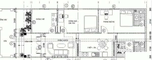 Bản thiết kế nhà cấp 4 với phòng thờ riêng