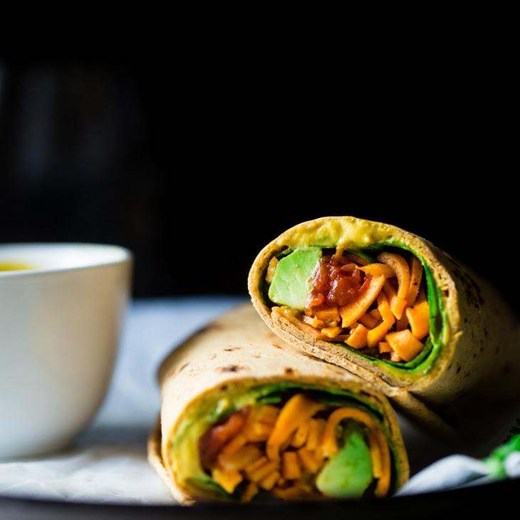 Mexican Sweet Potato Noodles Wrap with Vegan Cheese Sauce