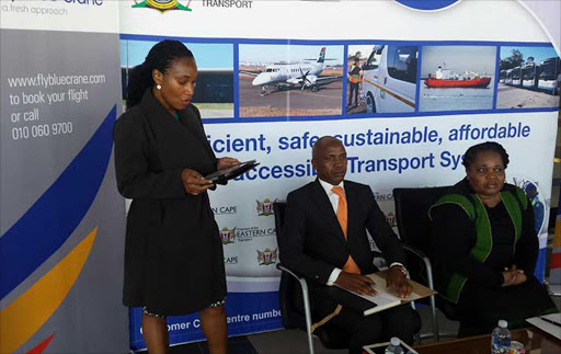 MAKING THE ANNOUNCEMENT: Fly Blu Crane airport operations head of department Stompie Tshesane talks about the new airline that will service the Mthatha to Johannesburg route from October 1 while airport committee chairman Anele Mbasane and transport MEC Weziwe Tikana listen on Picture: MKHULULI NDAMASE