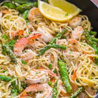 Shrimp Scampi Pasta with Asparagus.