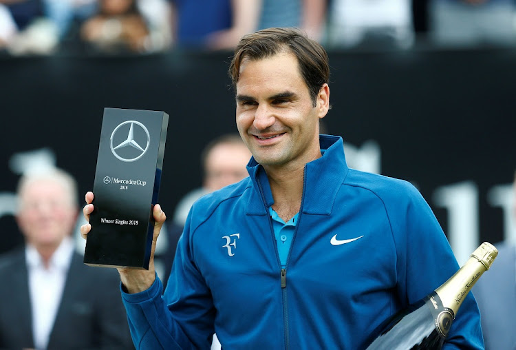 Switzerland's Roger Federer celebrates after winning the final against Canada's Milos Raonic at the Stuttgart Open in Stuttgart, Germany, June 17 2018. Picture: REUTERS