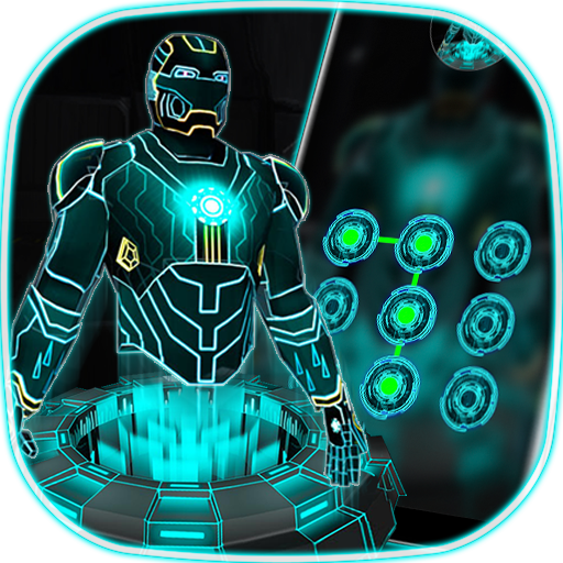 3D Tech Neon Hero - lock theme Icon