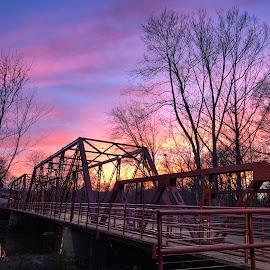 Bridge Sunset by Teresa Solesbee - Buildings & Architecture Bridges & Suspended Structures ( spring, nature, sunset, bridge, iphone, restoration )