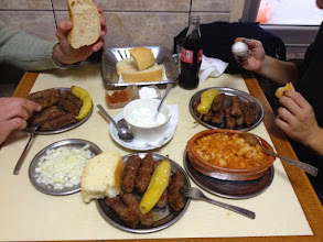 Photo: Typical kebab food in the old town of Skopje