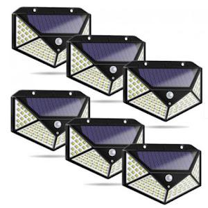 Set 6 x Lampa 100 LED cu panou solar, senzor de miscare