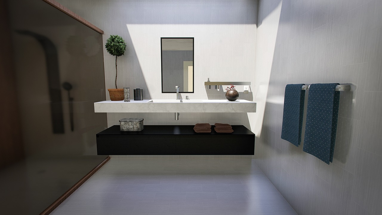 Modern Bathroom Design Trend for 2020 with rectangular shaped sink placed beneath a mirror. Very light and open