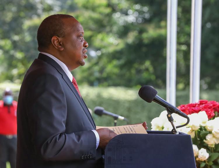 President Uhuru Kenyatta speaks during the 57th Anniversary of Madaraka Day on Monday, 1st June, 2020 at State House, Nairobi.