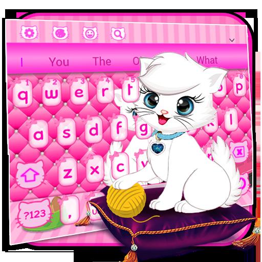 Pink Cute Love Cat Keyboard
