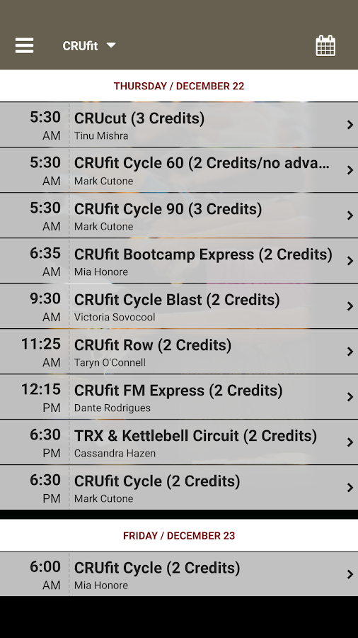 CRUfit- screenshot
