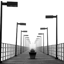 Foggy Pier by Bill Diller - Buildings & Architecture Bridges & Suspended Structures ( foggy, calm, pier, michigan, great lakes, trescott street pier, calmness, tranquil, tranquility, lake huron, peaceful, fog )